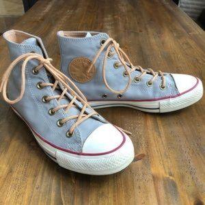 Blue / gray high-top Converse
